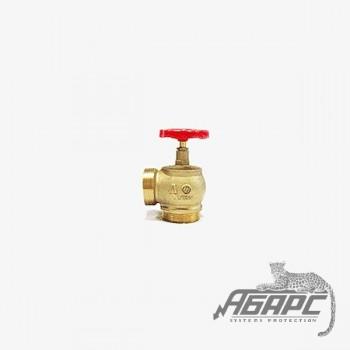 Ду-65 латунь угловой 90гр. (КПЛМ-65) муфта-цапка. Пожарный вентиль