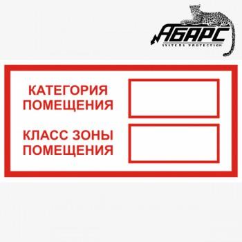 Категория помещения / Класс зоны помещения (Наклейка)