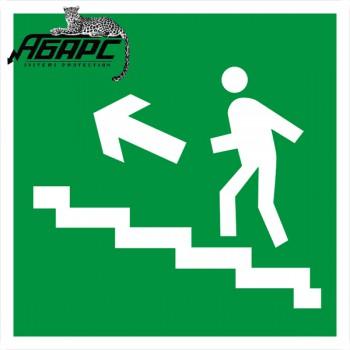 Направление к выходу по лестнице вверх налево (Наклейка)