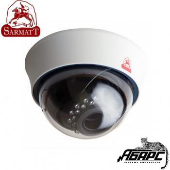 Видеокамера купольная с ИК цветная SR-D80V2812IR (SARMATT) белый корпус